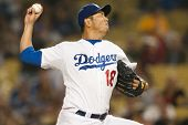LOS ANGELES - SEPT 22: Los Angeles Dodgers starting pitcher Hiroki Kuroda #18 during the Major Leagu
