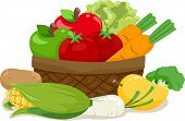 stock photo of wooden basket  - Illustration of a Wooden Basket Filled with an Assortment of Fruits and Vegetables - JPG