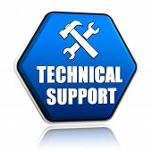 image of helpdesk  - technical support and tools sign 3d blue hexagon button with text - JPG