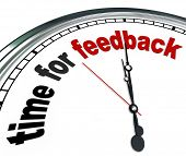 The words Time for Feedback on an ornate white clock, showing that it is time to collect input and r