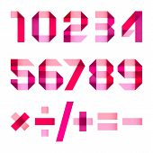 stock photo of arabic numerals  - Spectral letters folded of paper pink  - JPG