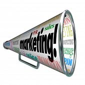 A megaphone or bullhorn with words on it for Marketing, advertising, positioning, awareness, message