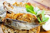 Fish, Spanish  tapas - sprat on baked bread