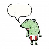 cartoon frog in swimming shorts