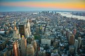 image of empire state building  - Aerial view over lower Manhattan New York from Empire State building top at dusk - JPG