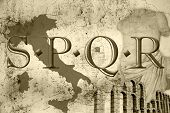 foto of spqr  - some elements of old rome in Merida - JPG