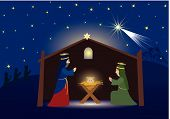stock photo of nativity scene  - Three Kings coming to Bethlehem nativity scene whit three magi Jesus Mary and Josef Biblical scene - JPG