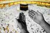foto of mekah  - Muslim Arabic man praying at Kaaba in Mecca - JPG