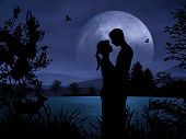 picture of tawdry  - Romantic couple at night with nice moonshine - JPG