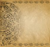 image of monster symbol  - Background in American Indian Style with Mayan calendar on old paper - JPG