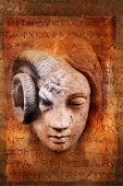 foto of cherub  - Angelic female face transforming into a sinister occult goat - JPG