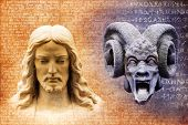 stock photo of lucifer  - Jesus and the devil against a background of gospel texts and mysterious alchemy symbols - JPG