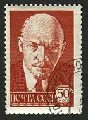 USSR - CIRCA 1976: Postage stamps printed in USSR dedicated to Vladimir Ilyich Lenin (1870-1924), Ru