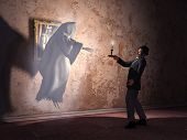 foto of encounter  - Nineteenth century man encountering a ghost in an old mansion - JPG