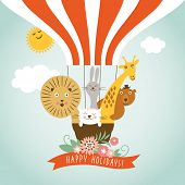 image of wild-rabbit  - Funny friendly animals in a balloon - JPG