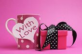 Cute And Sassy Pink Mug And Gift With Polka Dot Ribbon And 'with Love' Message On Heart Shape Gift T