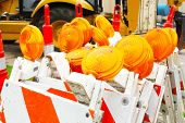 image of flashers  - Bright orange flashers for road work - JPG