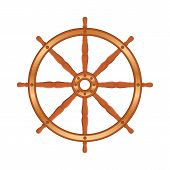 image of ship steering wheel  - Ship wheel on white background - JPG