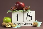 Save The Date Seasonal Individual Calendar For November 18 With Autumn Colors, Fruit And Flowers Fal