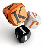 stock photo of dice  - kpi dice blocks key performance indicator on white background - JPG