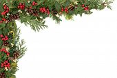 stock photo of mistletoe  - Christmas background floral border with natural holly - JPG