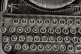 foto of qwerty  - An Antique Typewriter Showing Traditional QWERTY Keys IV - JPG