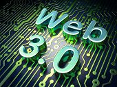 SEO web design concept: Web 3.0 on circuit board background