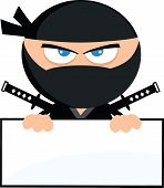 stock photo of manga  - Angry Ninja Warrior Cartoon Character Over Blank Sign Flat Design  Illustration Isolated on white - JPG