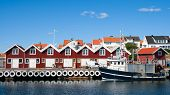 stock photo of west village  - Small marina at the Swedish fishing town Fj - JPG