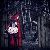 stock photo of little red riding hood  - Little Girl Red Riding Hood with automatic in wood stay in ambush behind a fence - JPG