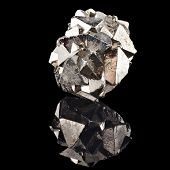 image of iron pyrite  - Pyrite with reflection on black surface background - JPG