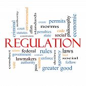 picture of greater  - Regulation Word Cloud Concept with great terms such as rules enforce government and more - JPG