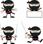 stock photo of chibi  - Angry Ninja Warrior  Cartoon Mascot Characters 1 Flat Design  Collection Set - JPG