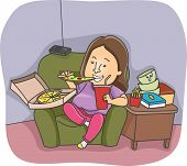 stock photo of bing  - Illustration of an Overweight Woman Going on an Eating Binge - JPG