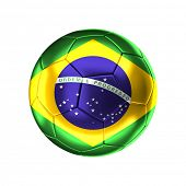 pic of flags world  - 3d soccer ball with brazilian   flag isolated on white - JPG
