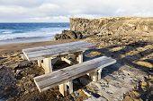 Picnic Table Near A Beach At Snaefellsnes Peninsula. poster