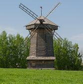 Wooden windmill from the Sudogodsky area in the museum of wooden architecture in Suzdal, the Vladimi