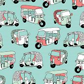 foto of rickshaw  - Seamless asian transportation icon india queen of the road rickshaw illustration background pattern in vector - JPG