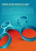 Abstract orange and blue background with modern 3d shape for poster, flyer, brochure and other print