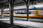 foto of leaving  - A train leaving the station of Roosendaal in the Netherlands - JPG