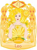 picture of horoscope  - Yellow haired and dressed woman holds flower and sun in her hands and represents the leo horoscope sign - JPG