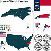 Map Of State North Carolina, Usa