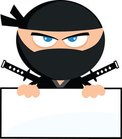 stock photo of chibi  - Angry Ninja Warrior Cartoon Character Over Blank Sign Flat Design  Illustration Isolated on white - JPG