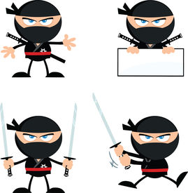 picture of chibi  - Angry Ninja Warrior  Cartoon Mascot Characters 1 Flat Design  Collection Set - JPG
