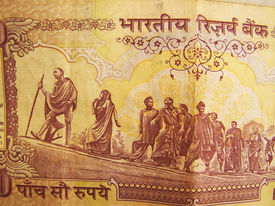 pic of gandhi  - Indian 500 rupee back side depicting Mahatma Gandhi dandi march movement - JPG