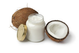 picture of grease  - Coconut oil and fresh coconut on white background - JPG