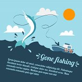 stock photo of swordfish  - Fishing poster with boat and fishermen catching swordfish vector illustration - JPG