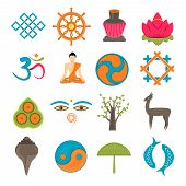 pic of mudra  - Buddhism church traditional symbols icons set isolated vector illustration - JPG