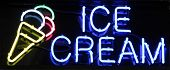 stock photo of ice cream parlor  - A colorful neon sign reading Ice Cream - JPG