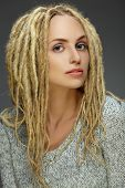 pic of dreadlocks  - Portrait of a beautiful girl with dreadlocks - JPG